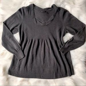 Daisy Fuentes Charcoal Pleated Long Sleeve Sweater